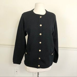 Vintage 70's 100% Wool Black cardigan sweater S